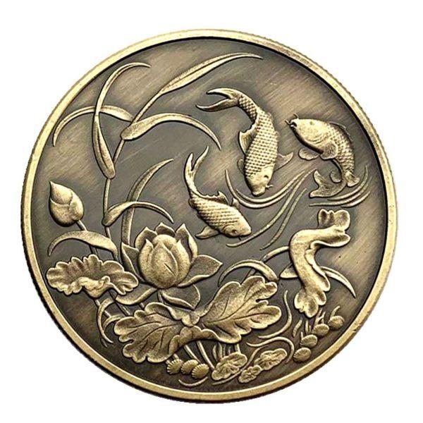Lotus carp bronze coins